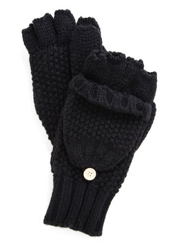 Saturday at the Stables Fingerless Gloves in Black