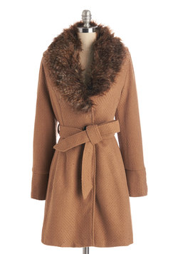 Straight Plush Coat in Camel