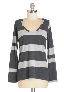 Striped Simplicity Top in Charcoal