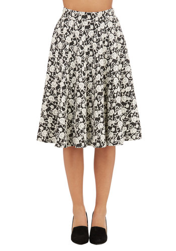 Searching in the Stacks Skirt - Fall, Better, Black, Long, Knit, Floral, Embroidery, Work, Full, Black, White, Daytime Party