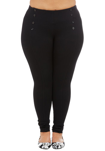Sail into the Future Pants in Black - Plus Size - Knit, Black, Solid, Buttons, Casual, Skinny, Ankle