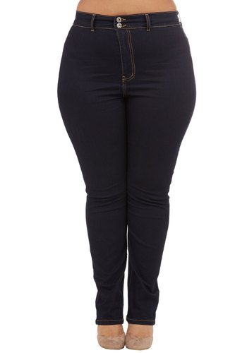 On a Roller Derby Jeans in Plus Size - Denim, Woven, Blue, Solid, Pockets, Casual, Skinny, Variation, Basic, Exclusives