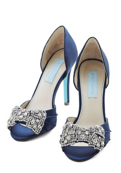 Betsey Johnson Dancing Gleam Heel in Navy Blue