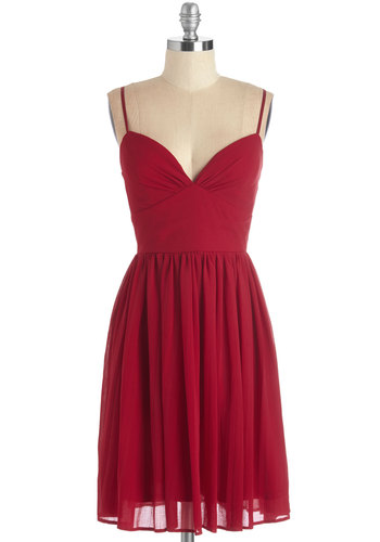 Looking Red Haute Dress in Rouge - Red, Solid, Pleats, Party, Girls Night Out, A-line, Knit, Good, Sweetheart, Spaghetti Straps, Valentine's, Mid-length, Prom, Homecoming