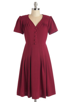 Let's Go to the Shop Dress in Cherry