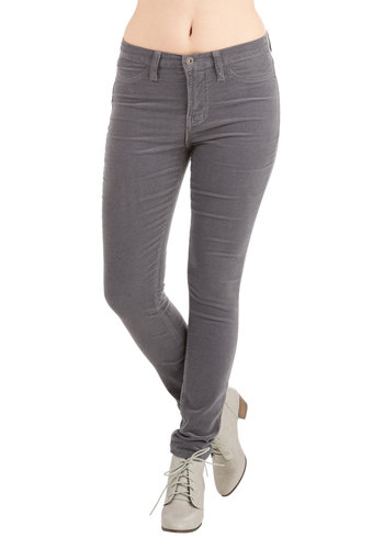 True Team Player Corduroy Pants in Charcoal - Cotton, Grey, Solid, Pockets, Casual, Skinny, Fall, Woven, Variation