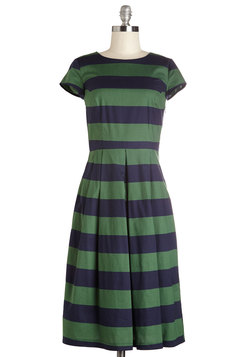 Inlet's Get Together Dress in Navy and Green