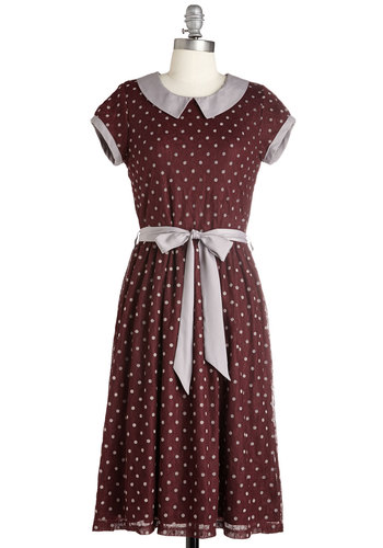 1930s dresses fashion Winsome Weekend Dress in Burgundy