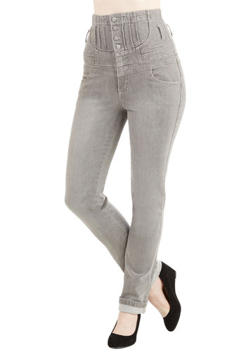 Improv Class Jeans - High Waist, Skinny, Fall, Good, Ultra High Rise, Full length, Grey, Medium Wash, Denim, Cotton, Denim, Grey, Solid, Buttons, Pockets, Casual