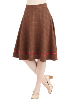 Streak of Success Skirt in Brown Plaid