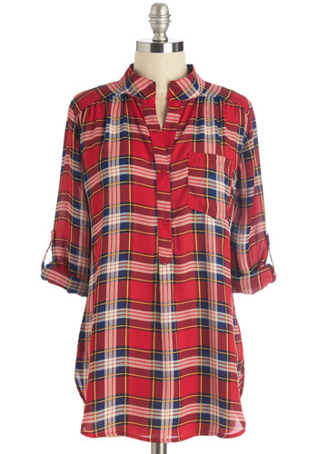 Where It's Mat Top in Red Plaid