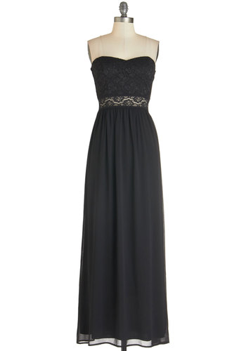 Swept Up in Onyx Dress - Long, Chiffon, Woven, Black, Solid, Lace, Party, Maxi, Strapless, Better, Sweetheart, Sheer, Prom, Homecoming, Glitter