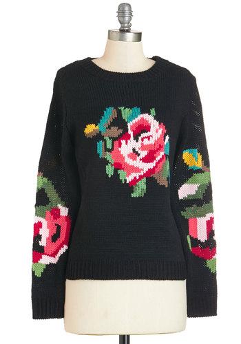 Pixelated Posy Sweater