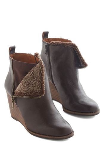 Headed Home Bootie by Lucky - Mid, Leather, Faux Fur, Brown, Solid, Exposed zipper, Luxe, Winter, Best, Wedge