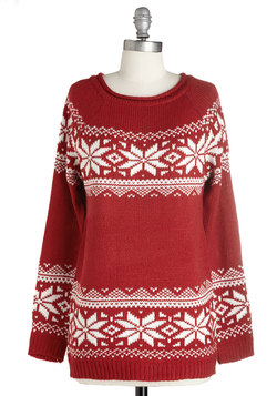 The More You Snowflake Sweater in Red