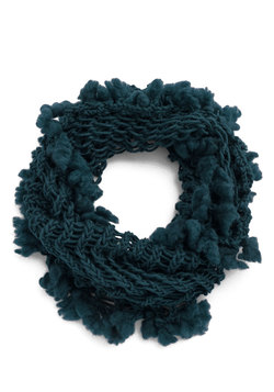 Just a Tinge of Fringe Circle Scarf in Blue