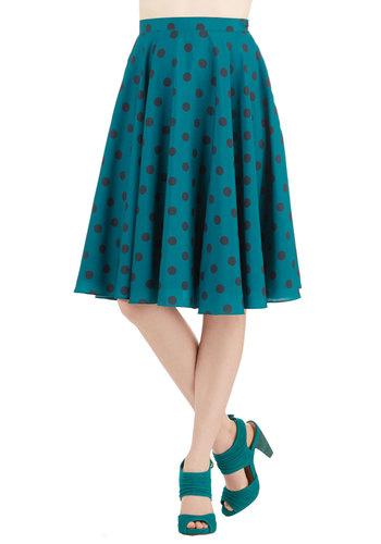 Ikebana for All Skirt in Teal Dots