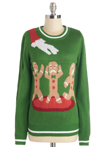Cookie Cutting Edge Sweater - WPI, Holiday, Mid-length, Knit, Green, Novelty Print, Long Sleeve, Winter, Green, Long Sleeve, Quirky