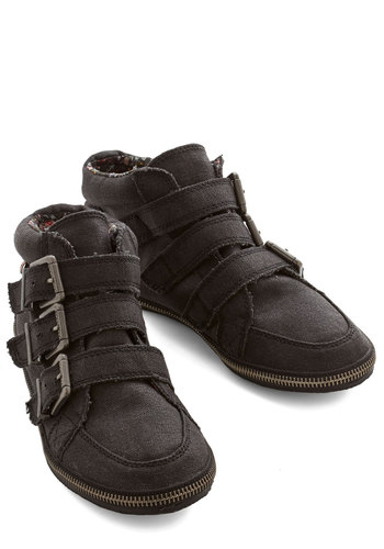 Zipper on Over Bootie - Flat, Woven, Black, Solid, Buckles, Exposed zipper, Casual, Menswear Inspired, Better, Strappy