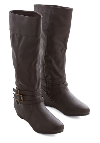 Especially Splendid Boot in Brown - Flat, Faux Leather, Brown, Solid, Buckles, Good, Strappy, Casual, Variation, Knee