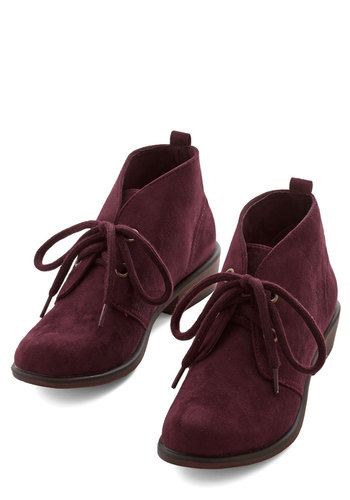 Tour Date Bootie in Plum - Low, Faux Leather, Red, Solid, Casual, Fall, Lace Up, Variation