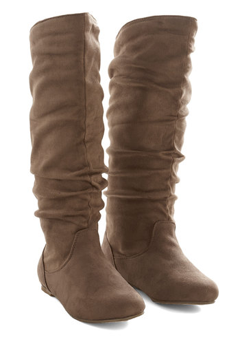 Each and Every Day Boot in Tan - Flat, Faux Leather, Tan, Solid, Ruching, Minimal, Fall, Winter, Good, Variation, Casual, Knee