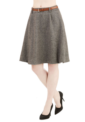 Vice Versatility Skirt - Woven, Mid-length, Grey, Belted, Work, Menswear Inspired, A-line, High Waist, Better, Grey, Fall, Winter
