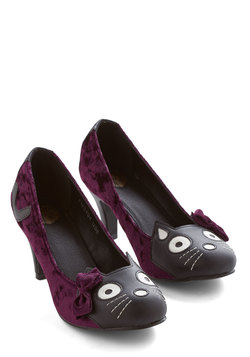 Meow's the Time Heel in Purple Velvet