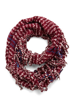 Haute a Moment to Spare Circle Scarf in Burgundy