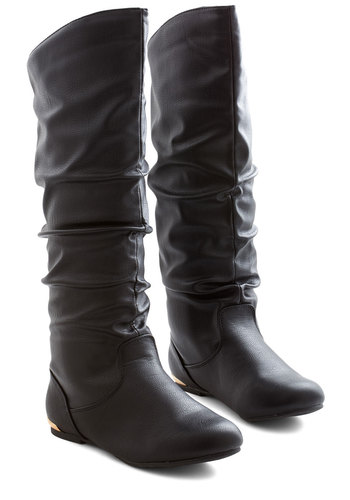 Each and Every Day Boot in Black - Flat, Black, Solid, Ruching, Minimal, Fall, Winter, Good, Variation, Casual, Knee