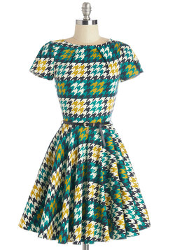 Like a Lucky Lady Dress in Houndstooth
