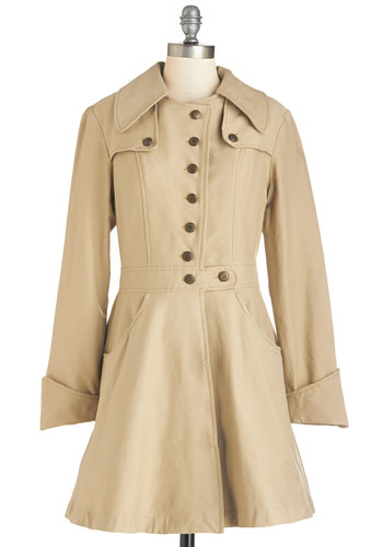 Swell-Read Trench by Nick & Mo - Knit, Tan, Solid, Buttons, Pockets, Long Sleeve, Basic, Spring, 2, Long