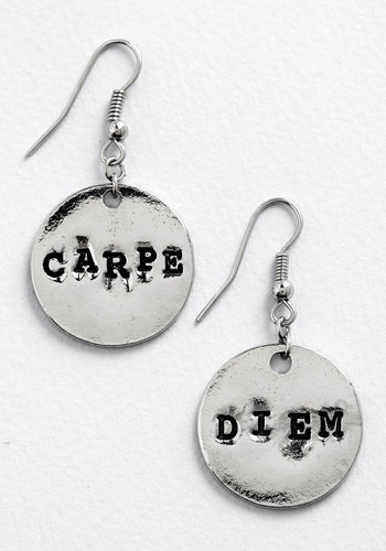 Odes of Wisdom Earrings - Scholastic/Collegiate, Minimal, Nifty Nerd, Sayings, Silver, Exclusives, Novelty Print, Under $20, Top Rated