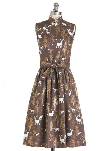 Biographical Book Club Dress in Forest