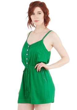 Smile With Me Romper in Green