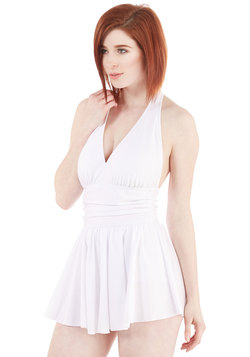 Seaside Muse Swim Dress in White