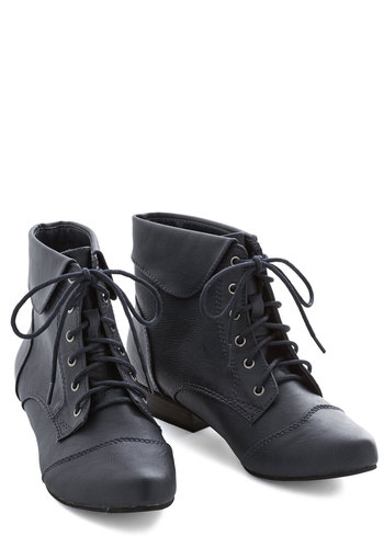 Bandmate Bootie in Navy - Flat, Solid, Good, Lace Up, Blue, Casual, Variation