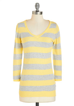 Stop for Scones Sweater in Yellow and Grey