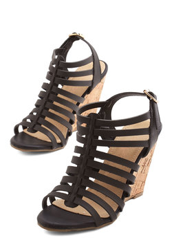 Strappy Trails to You Wedge in Black