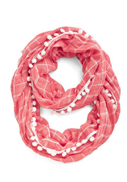 Pom It Up Circle Scarf in Coral