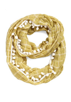 Pom It Up Circle Scarf in Mustard