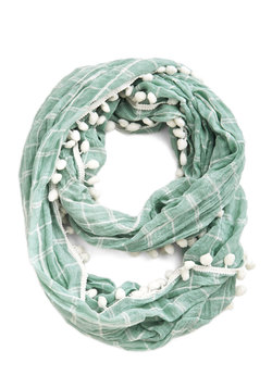 Pom It Up Circle Scarf in Mint