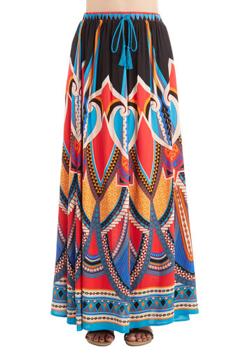 Resort Reviewer Skirt in Cove - Maxi, Knit, Good, Black, Multi, Casual, Beach/Resort, Boho, Festival, Variation, Novelty Print, Long, Spring, Summer