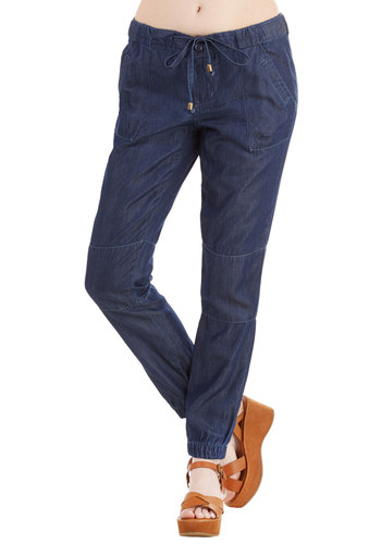 Enjoy Every Day Pants - Tapered Leg, Denim, Good, High Rise, Ankle, Blue, Denim, Woven, Blue, Solid, Pockets, Casual, Spring, Medium Wash