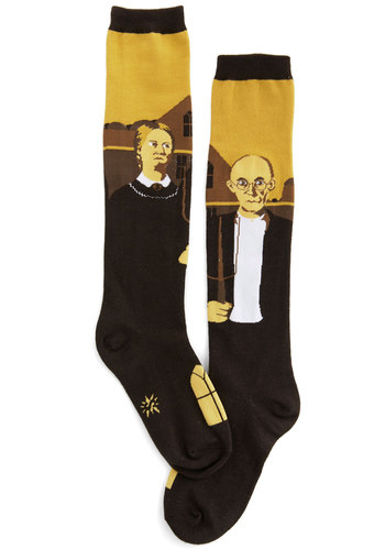 American Iconic Socks - Brown, Yellow, Novelty Print, Knit, Quirky, Top Rated, Fall, Winter