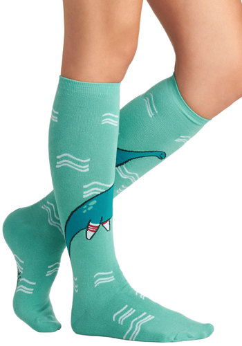 Got It on Loch Ness Socks - Blue, Multi, Print with Animals, Quirky, Casual, Scholastic/Collegiate, Knit, Fall, Winter