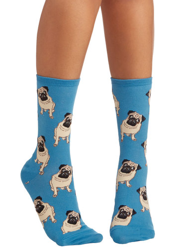 Pug Life Socks in Blue - Blue, Tan / Cream, Black, Print with Animals, Critters, Good, Casual, Knit, Dog, Gals, Top Rated
