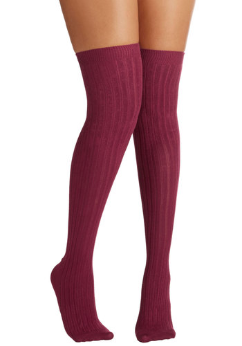Basically Amazing Socks in Wine - Red, Solid, Minimal, Darling, Knit, Scholastic/Collegiate, Variation, Basic, Fall, Winter, Boho