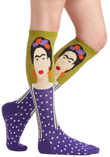 Frida Be Me Socks in Green and Purple - Nifty Nerd, Good, Variation, Knit, Multi, Green, Purple, Novelty Print, Fall, Winter, Gals