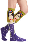 Frida Be Me Socks in Green and Purple